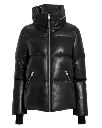 Leather Puffer Jacket, BLACK, hi-res