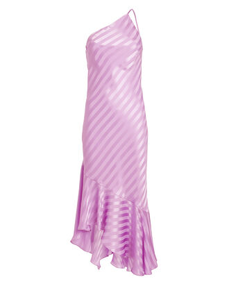 Lilac One Shoulder Shadow Stripe Dress, PURPLE-LT, hi-res