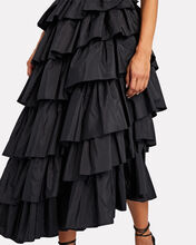 Valentina Ruffled Silk Taffeta Gown, BLACK, hi-res
