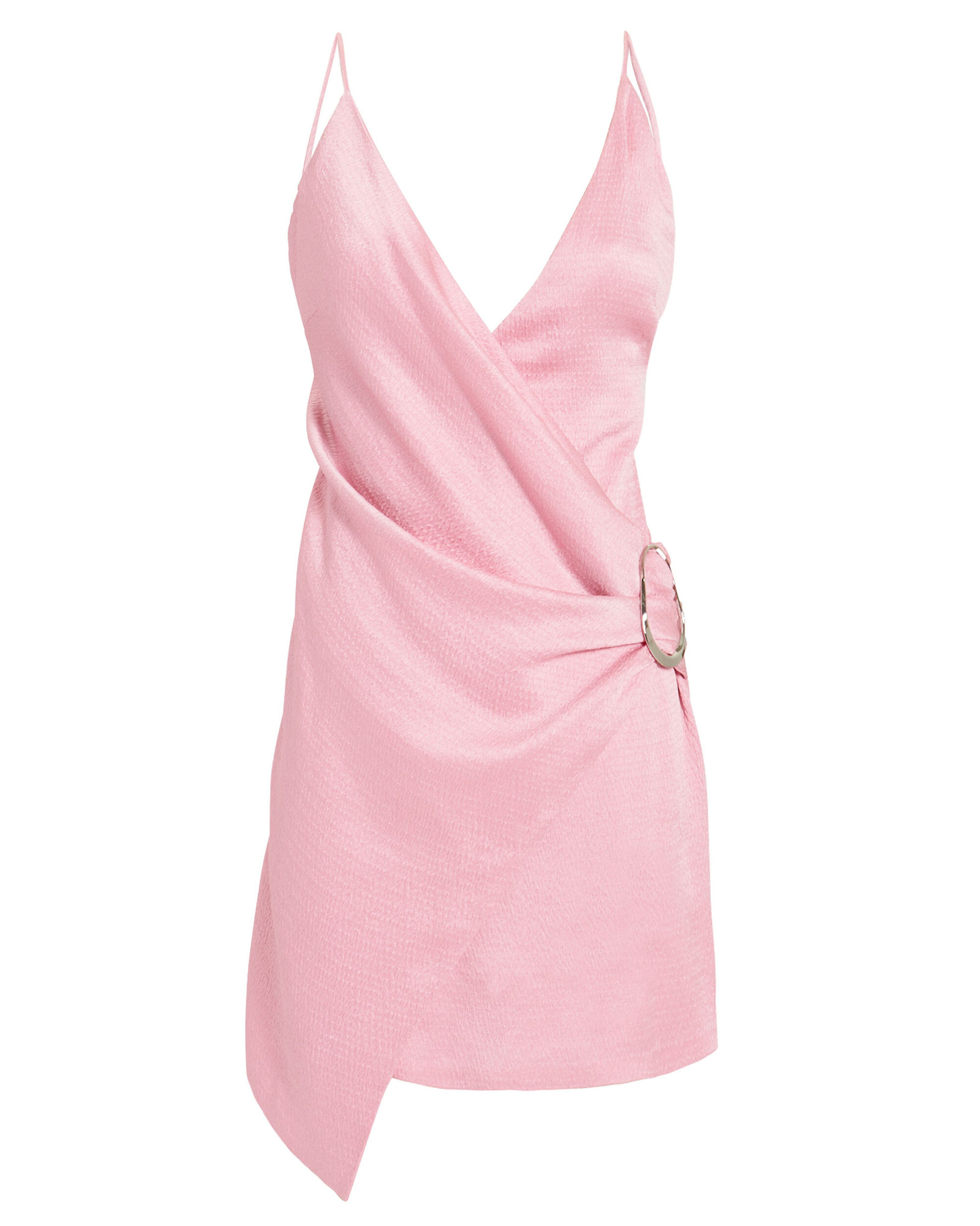 Wrap-Effect Pink Mini Dress, PINK, hi-res
