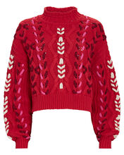 Zola Cable Knit Mock Neck Sweater, RED, hi-res