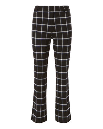 Box Grid Crop Flare Trousers, BLACK, hi-res