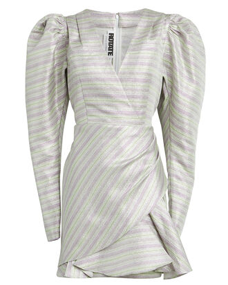 No. 24 Metallic Mini Dress, METALLIC STRIPE, hi-res