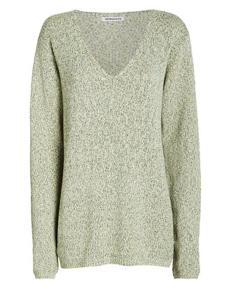 Space Dye V-Neck Sweater, GREEN/GREY, hi-res