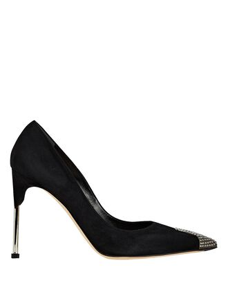 Embellished Suede Pumps, BLACK, hi-res