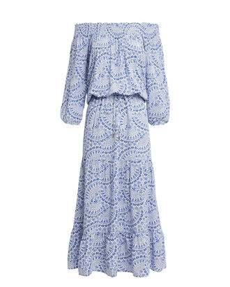Carmen Off-Shoulder Midi Dress, BLUE/FLORAL, hi-res