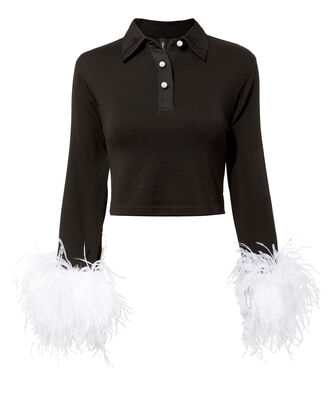 Mandrel Feather Cuff Polo Top, BLACK, hi-res