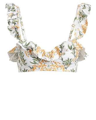 Margot Ruffled Floral Bikini Top, WHITE FLORAL, hi-res