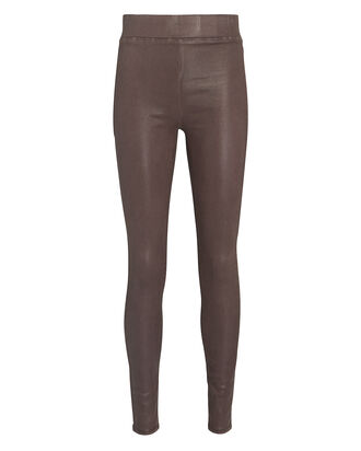 Rochelle Coated High-Rise Leggings, BROWN, hi-res