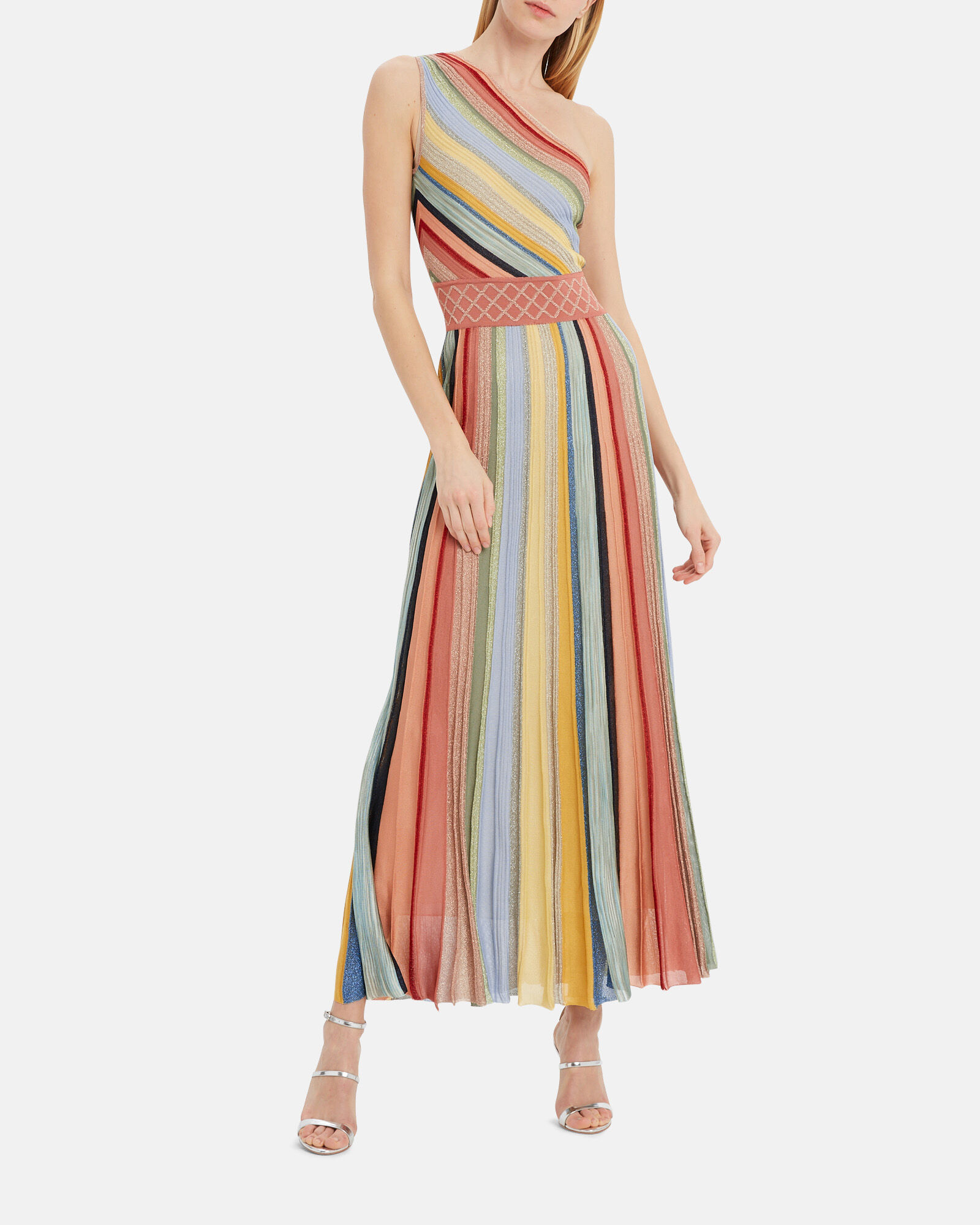 One-Shoulder Striped Gown, MULTI, hi-res