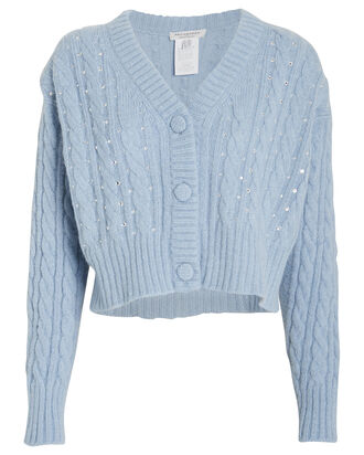 Crystal-Embellished Cable Knit Cardigan, PERIWINKLE, hi-res