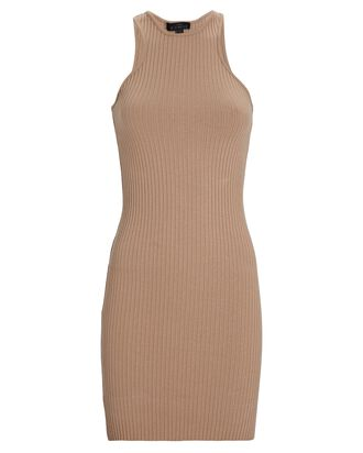 Primary Rib Knit Carved Mini Dress, LIGHT BROWN, hi-res