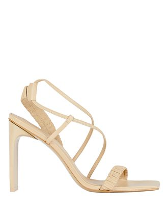 Abella Ruched Leather Sandals, BEIGE, hi-res