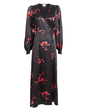 Floral Print Satin Wrap Dress, BLACK/FLORAL, hi-res
