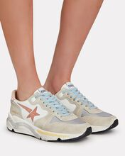 Running Sole Suede Sneakers, WHITE, hi-res