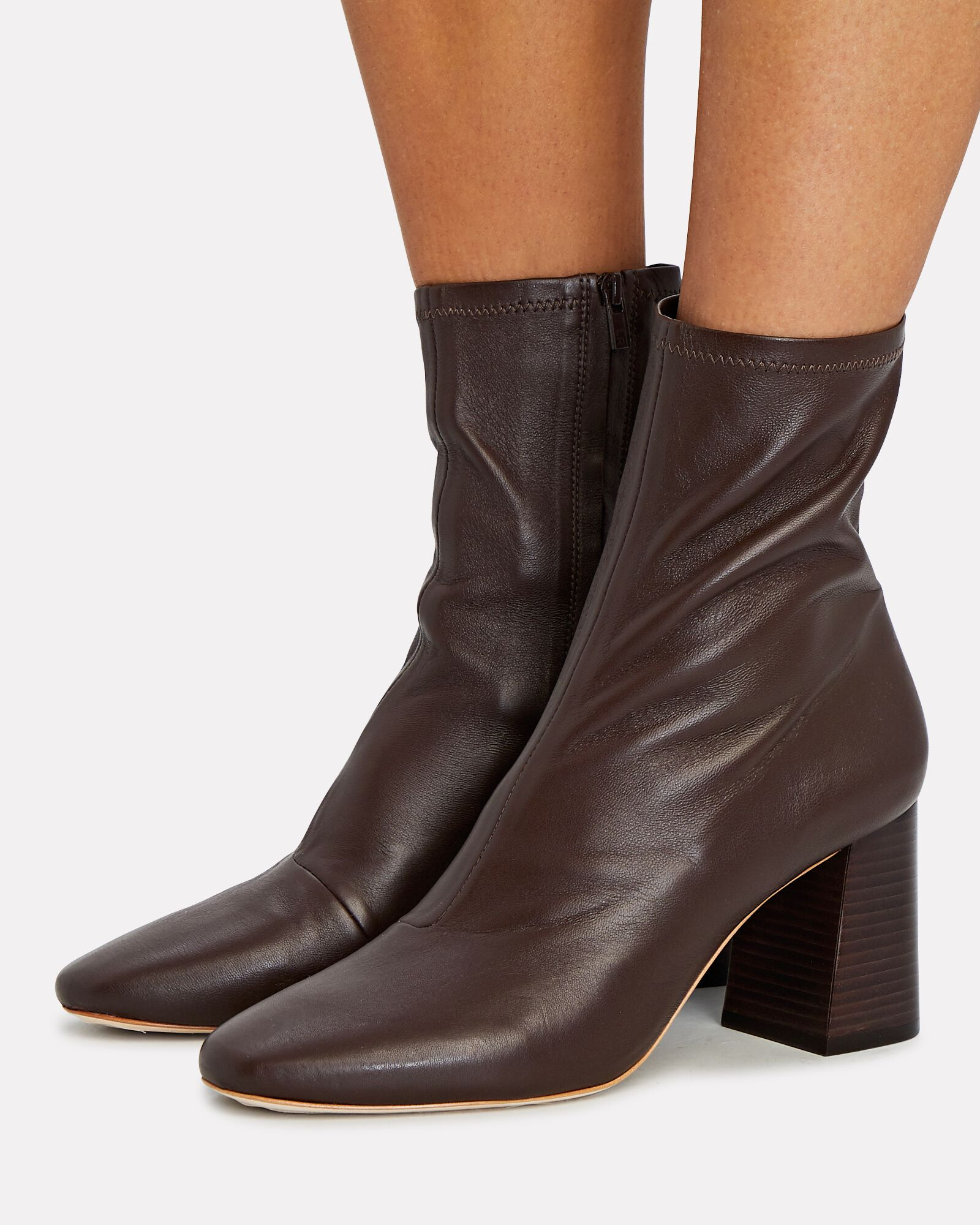 Elise Leather Ankle Booties, BROWN, hi-res