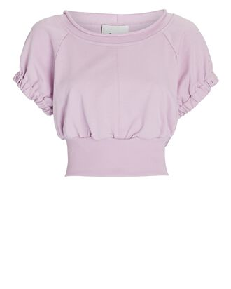 French Terry Puff Sleeve Sweatshirt, LIGHT PINK, hi-res