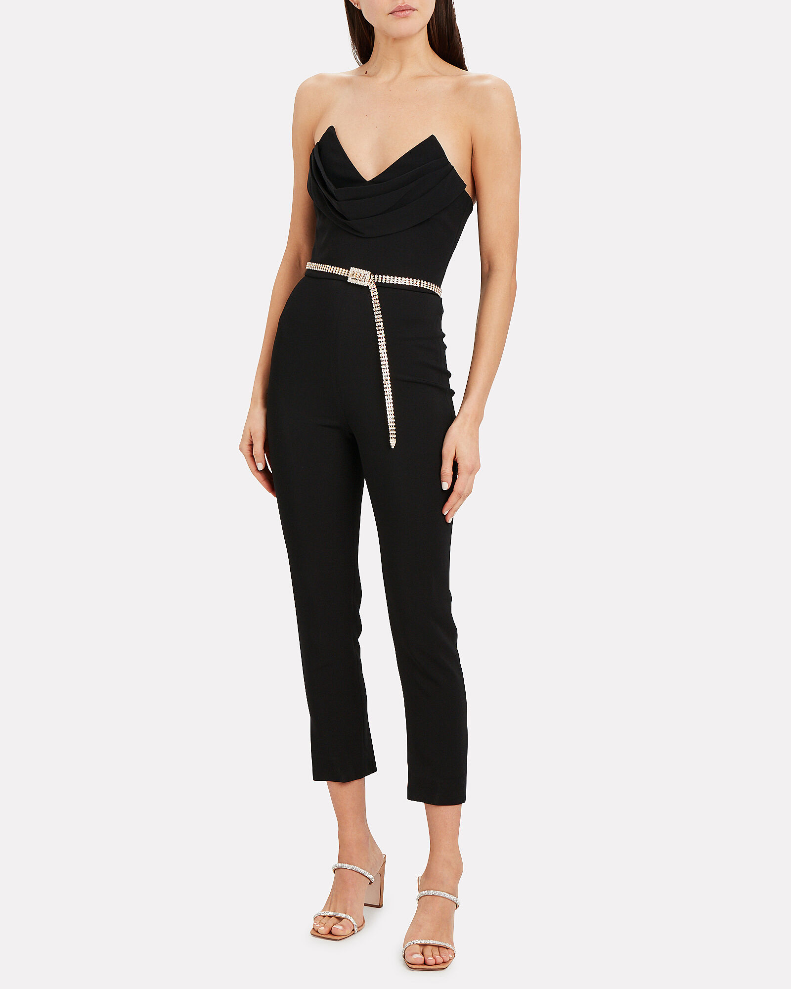 Strapless Silk Crepe Corset Jumpsuit, BLACK, hi-res