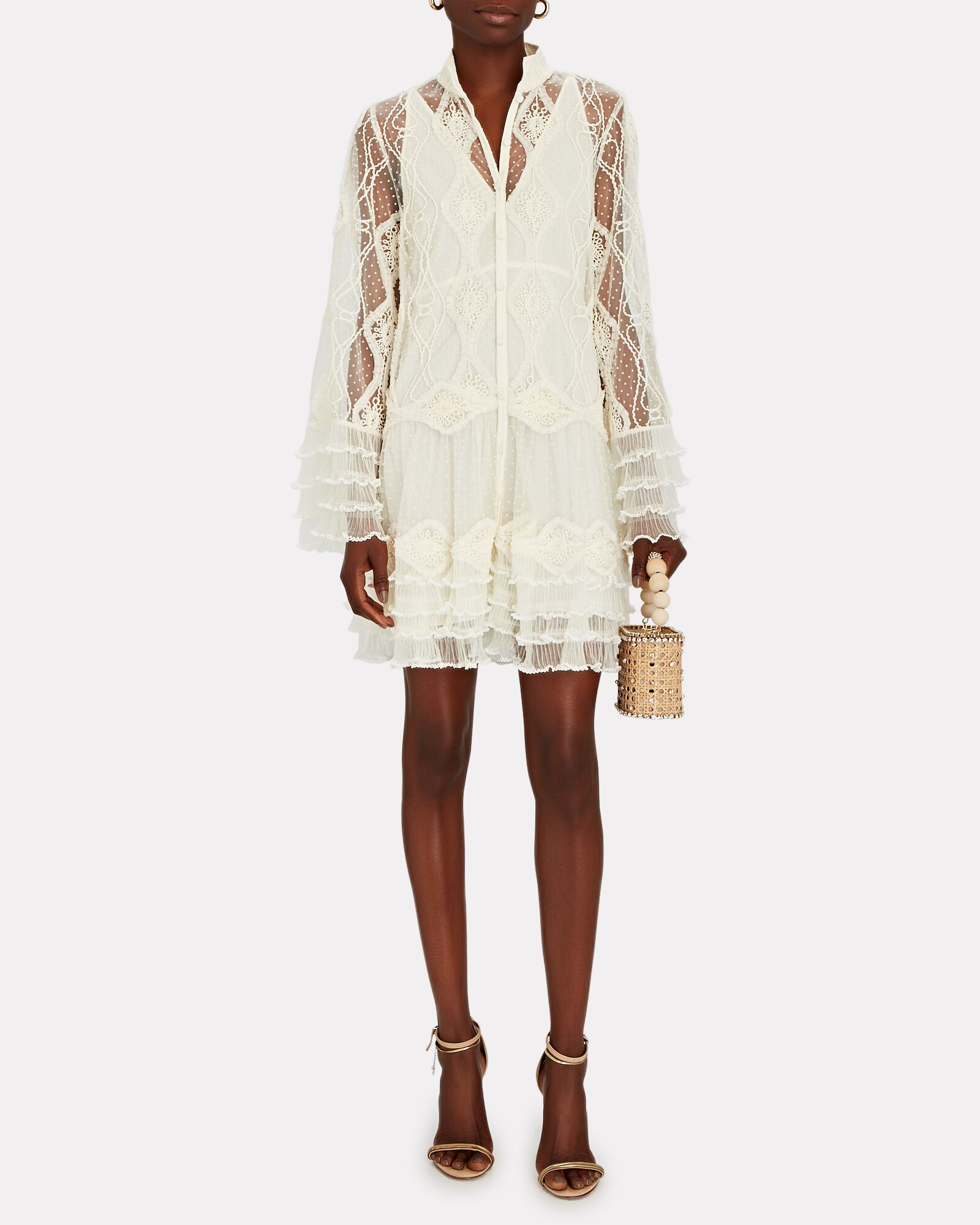 Perlina Embroidered Lace Mini Dress, IVORY, hi-res