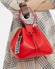 Red Leather Bucket Clutch, RED, hi-res