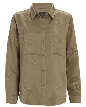 Marcel Embroidered Button-Down Shirt, OLIVE, hi-res