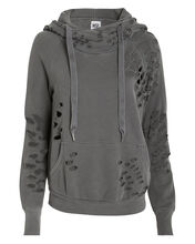 Lisse Distressed French Terry Hoodie, FADED BLACK, hi-res