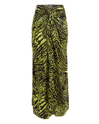 Tiger Print Silk Knotted Skirt, GREEN, hi-res