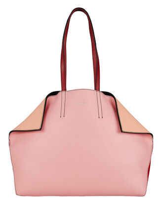 Butterfly Tote, PINK LEATHER/RED SUEDE, hi-res