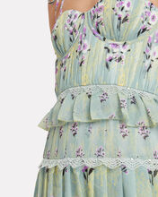 Tiered Floral Chiffon Bustier Dress, MINT, hi-res