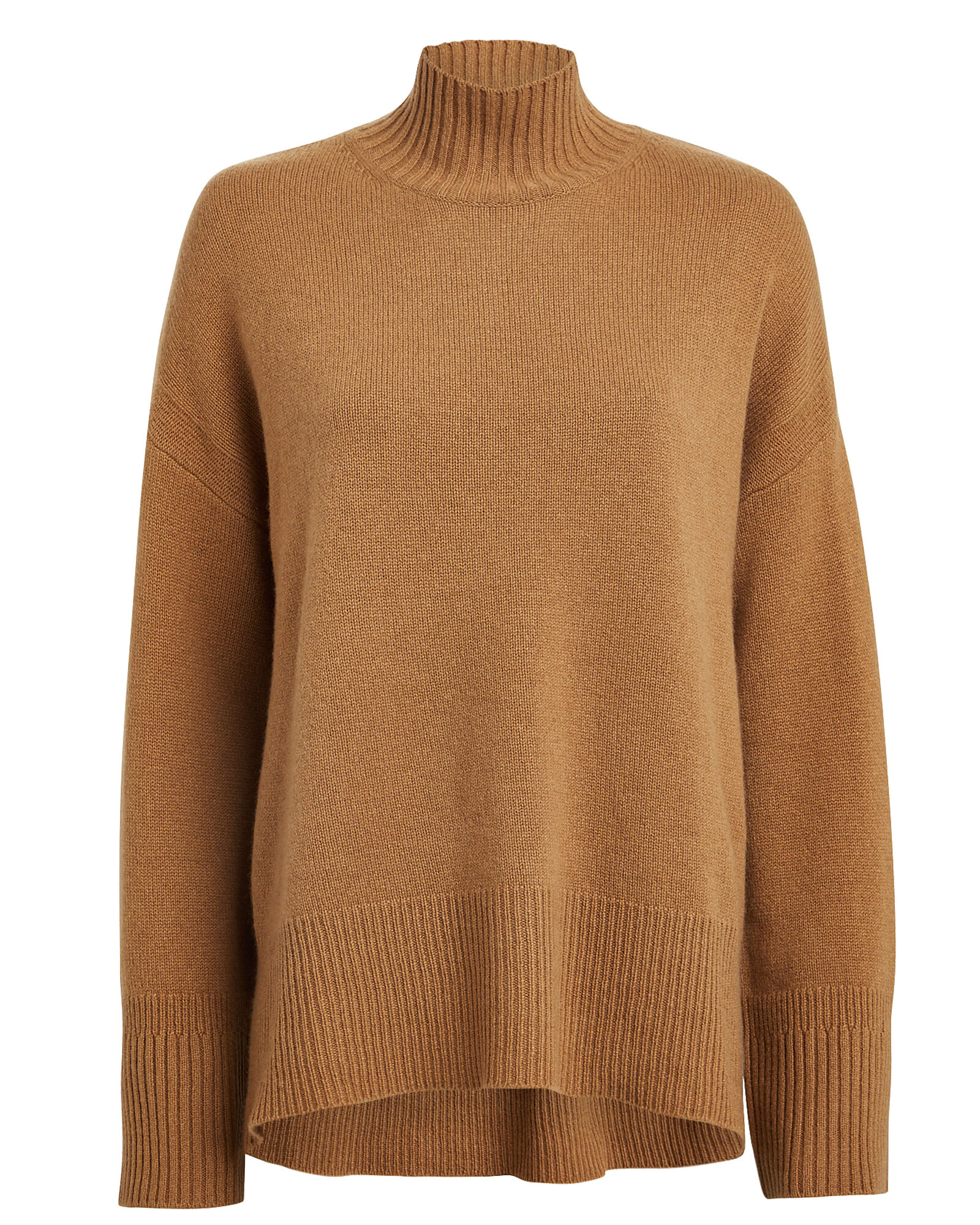 High Low Cashmere Sweater, BROWN, hi-res