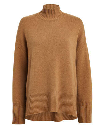 High Low Cashmere Sweater, CAMEL, hi-res