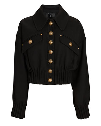 Wool Button-Down Jacket, BLACK, hi-res