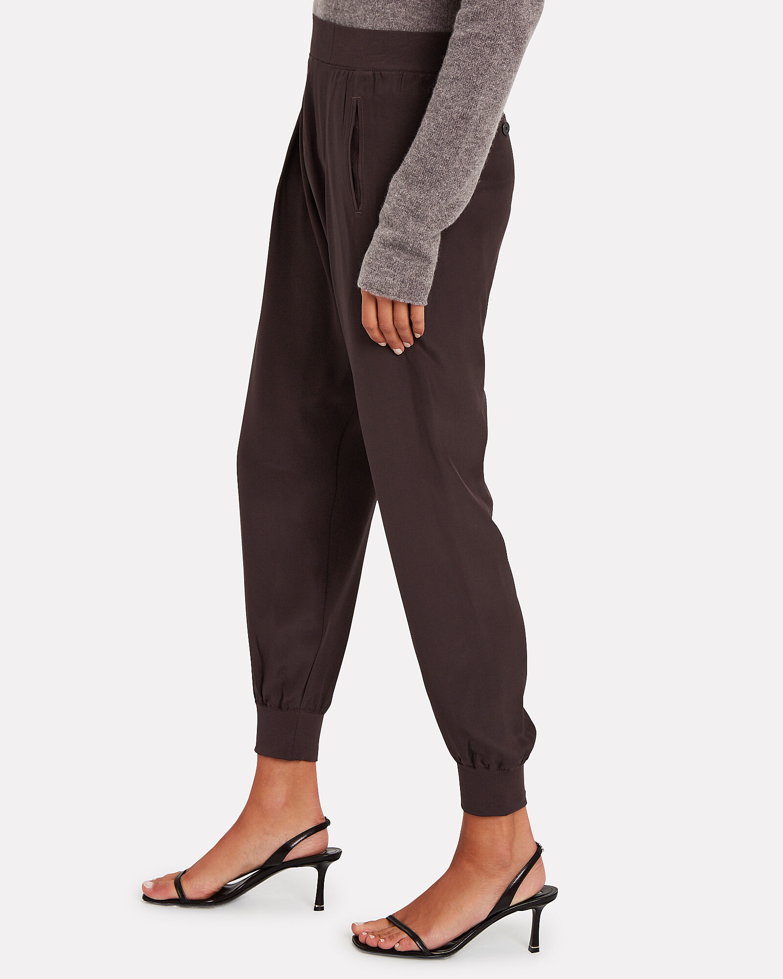 Tailored Silk Sweatpants, DARK CHOCOLATE, hi-res