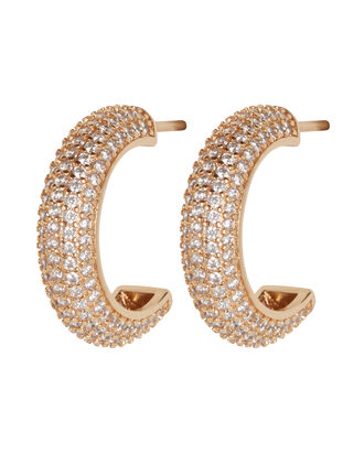 Pavé Demi Hoop Earrings, , hi-res