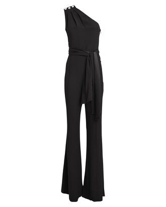 Maeve One-Shoulder Crepe Jumpsuit, BLACK, hi-res