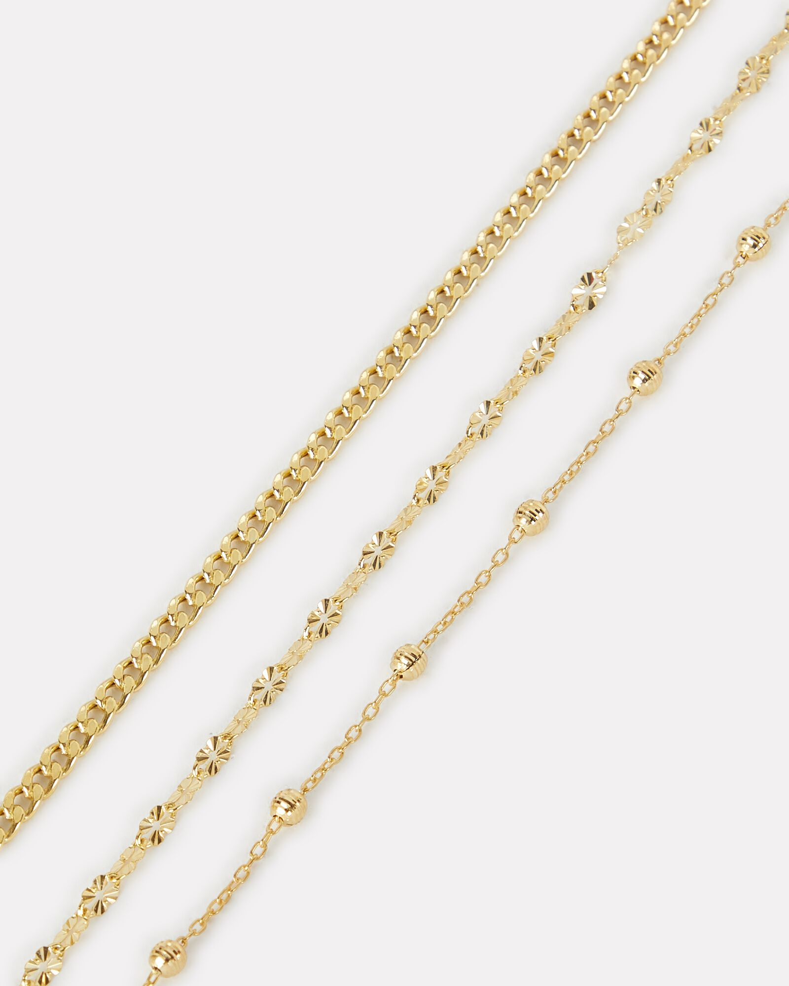 Three Layer Mixed Chain Necklace, GOLD, hi-res