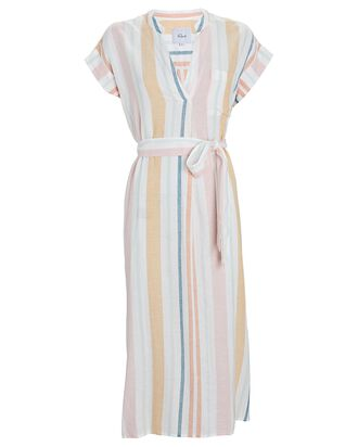 Suri Striped Tie-Waist Midi Dress, IVORY/YELLOW/PINK, hi-res