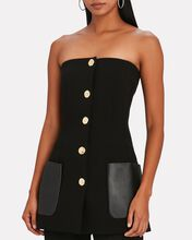 Leather-Trimmed Strapless Suiting Top, BLACK, hi-res