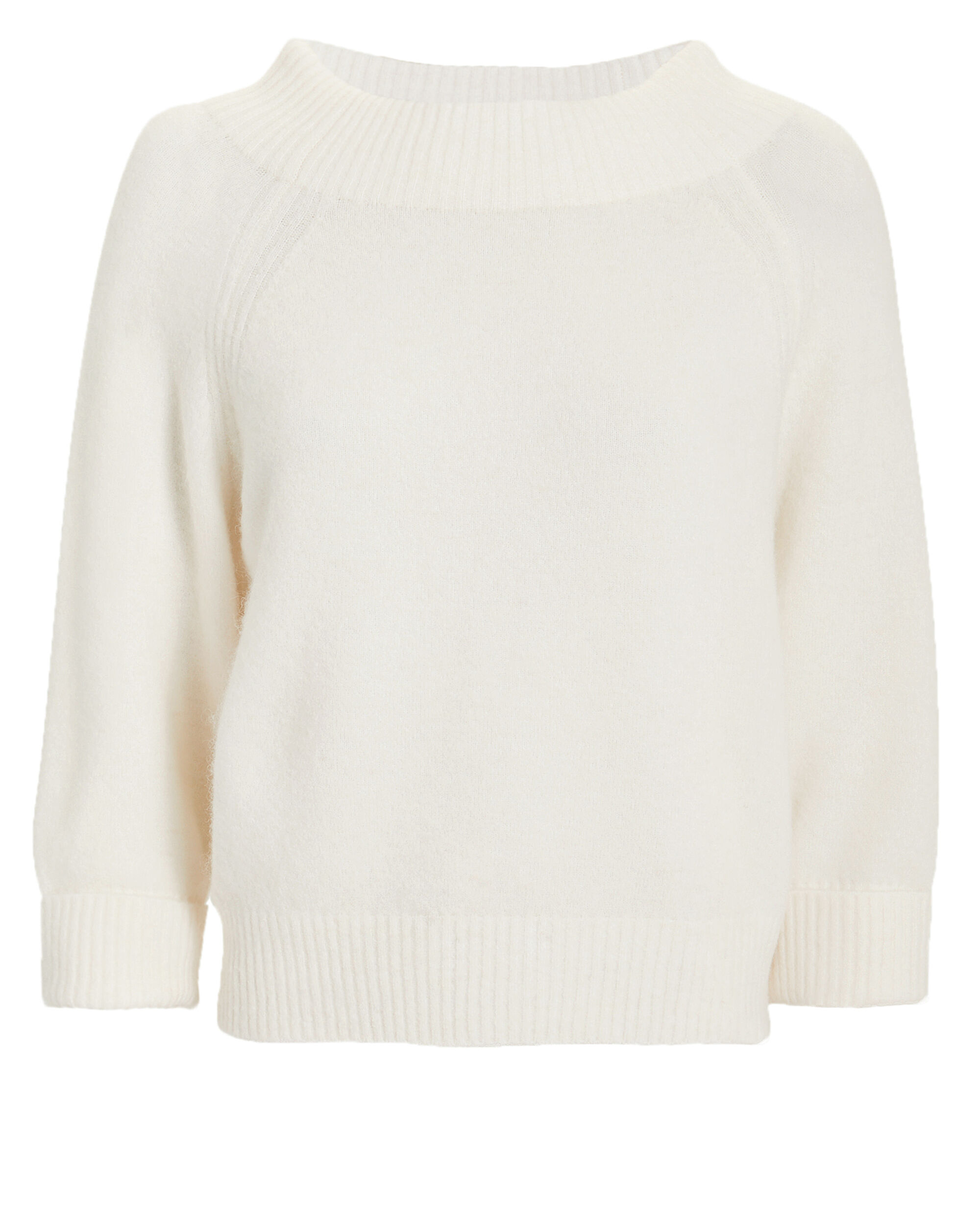 Lofty Ribbed Ivory Pullover, WHITE, hi-res