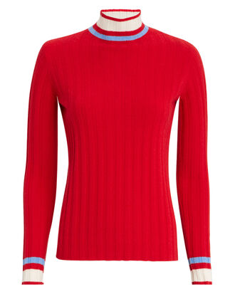 Carita Bold Trim Ribbed Turtleneck, RED-DRK, hi-res
