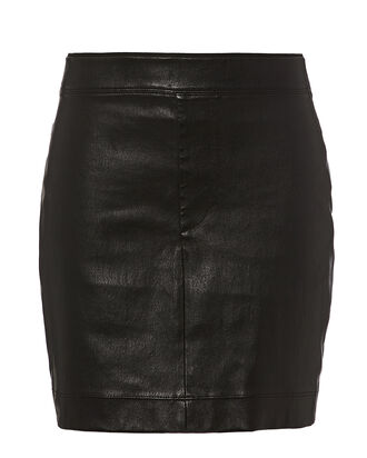 Core Black Stretch Leather Mini Skirt, BLACK, hi-res