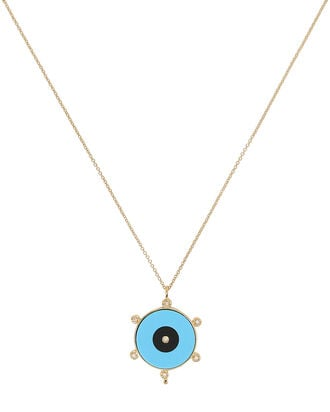 Liya Eye Pendant Necklace, BLUE/BLACK/GOLD, hi-res