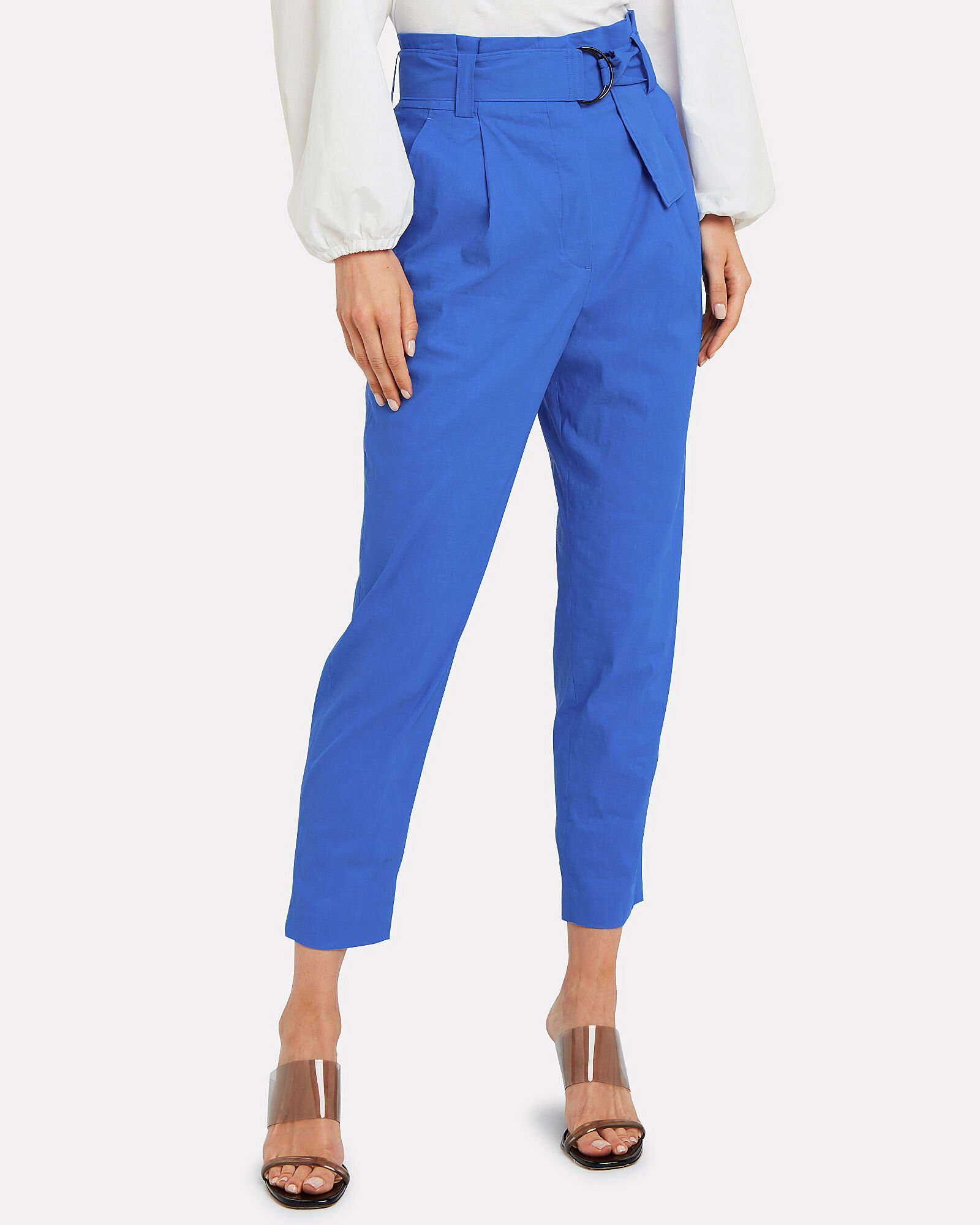 Diego Paperbag Waist Trousers, BLUE, hi-res