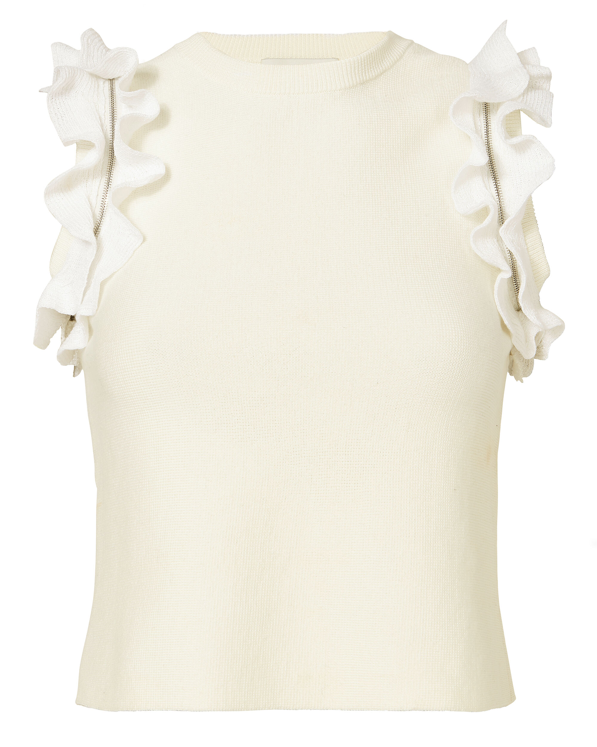 Ruffle And Zip Knit Tank, WHITE, hi-res