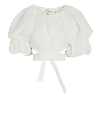Impression Puff Sleeve Crop Top, WHITE, hi-res