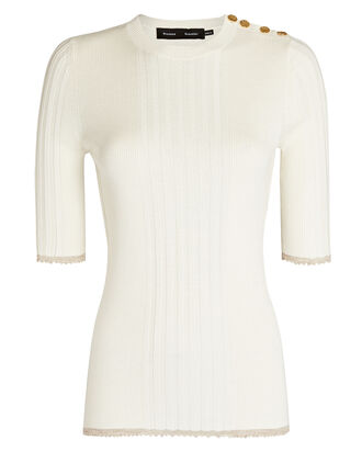 Silk-Cashmere Rib Knit Top, IVORY, hi-res