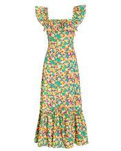 June 80s Micro Shell Midi Dress, GREEN/YELLOW, hi-res