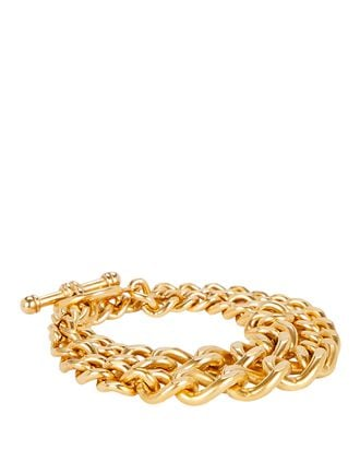 Heavy Metal Chain-Link Bracelet, GOLD, hi-res