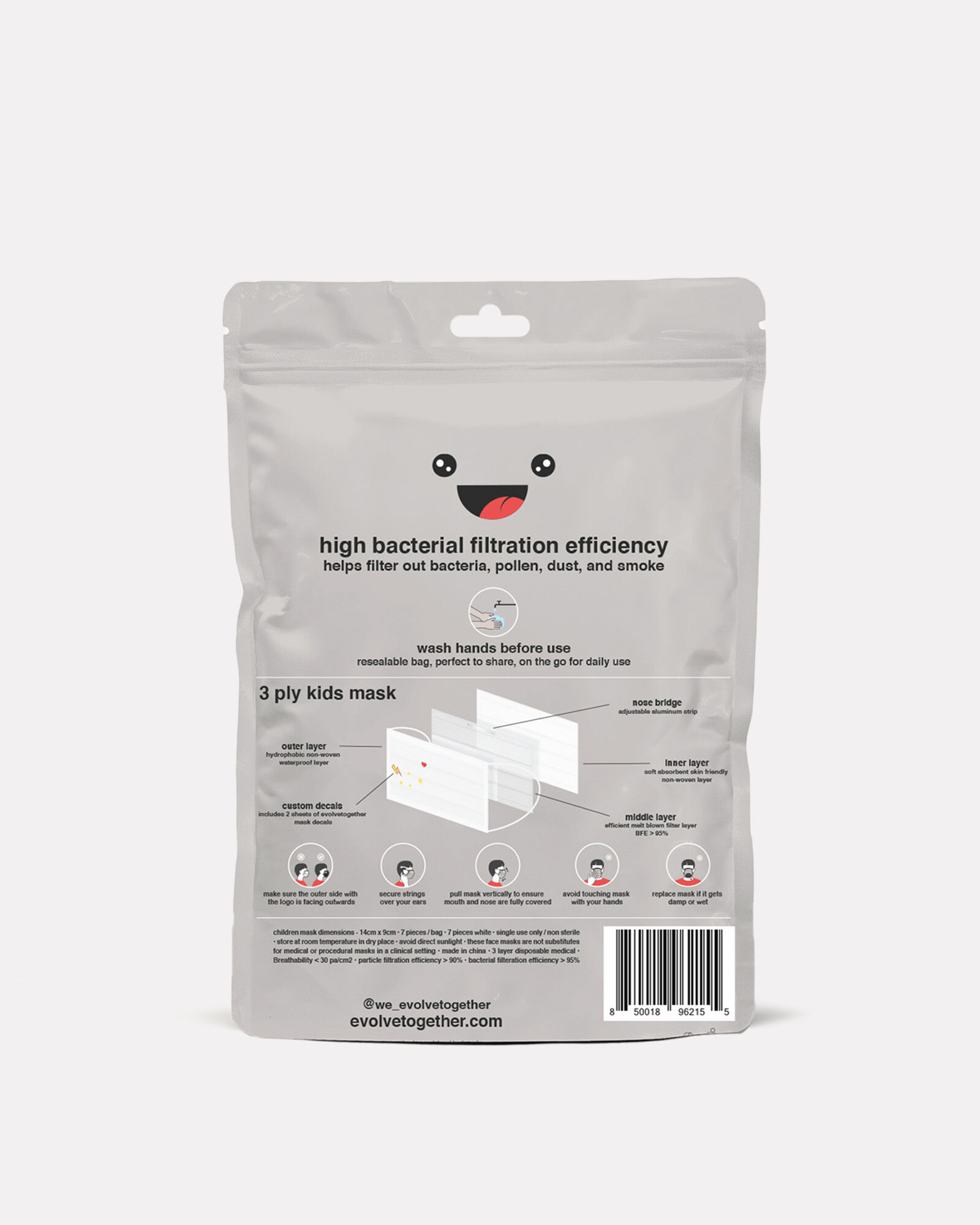 Disposable Kids' Face Mask 7-Pack, WHITE, hi-res