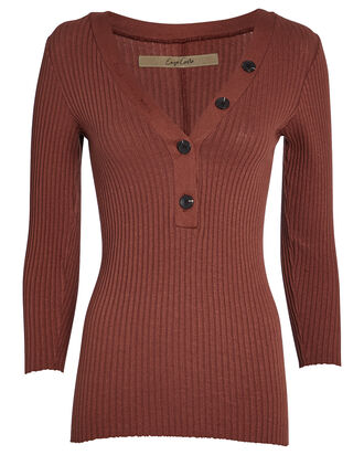 Ribbed Cotton Henley Top, BROWN, hi-res